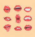 set red women s lips with different emotions vector image vector image