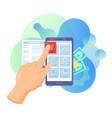 shopping online service cartoon buyer man hand vector image