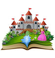 story book of princess and frog prince cartoon vector image vector image