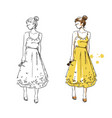 summer look girl in a yellow dress fashion vector image vector image