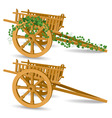 vintage wooden cart vector image vector image