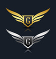 wings shield letter g logo template vector image vector image