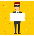 bearded businessman with sunglasses holding banner vector image