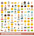 100 sweepstakes icons set flat style vector image vector image