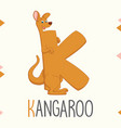 alphabet letter k and kangaroo vector image vector image