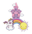 beautiful fairytale castle with unicorn in the vector image