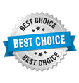 best choice 3d silver badge with blue ribbon vector image vector image