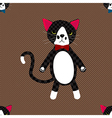 Black Cat with Ribbon Full Body on Brown vector image vector image