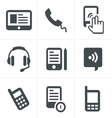 black phone icons set on gray vector image