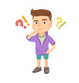 boy standing under question and exclamation marks vector image vector image