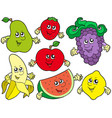 cartoon fruits collection 2 vector image