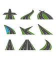 cartoon perspective curved road icons set vector image vector image