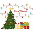 christmas tree with fir gifts balls lights winter vector image vector image
