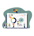 collaboration concept people insert charts into vector image vector image