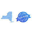collage map of new york state with water drops and vector image vector image