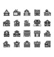 cottage house black silhouette icons set vector image vector image