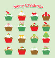 cupcake cartoon merry christmas vector image
