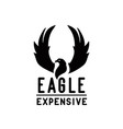eagle with raised wings for hardcore metalcore vector image