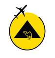 egyp pyramids with camel and airplane vector image