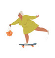 elderly woman riding skateboard or longboard vector image