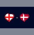 england vs denmark flags in heart emblem vector image vector image