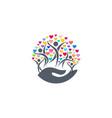 family hearts parenting hand logo icon symbol vector image