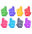 fan foam fingers color sports glove with number vector image