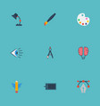 flat icons eye bulb brush and other vector image vector image