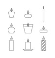 Flat thin line icons Christmas candles vector image