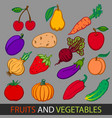 fruits and vegetables set flat images vector image