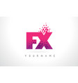 fx f x letter logo with pink purple color and vector image vector image