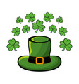 green hat accessory st patrick with clovers vector image vector image