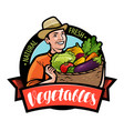 happy farmer holding wicker basket with vegetables vector image vector image