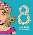 happy womens day eight flowers shape beauty girl vector image