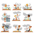 kid chemists characters posing in different vector image vector image
