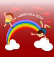 kids playing over the rainbow Happy New Year vector image vector image
