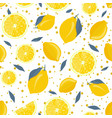 lemon fruits and slice seamless pattern with gray vector image vector image