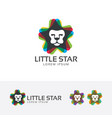 little lion stars logo vector image
