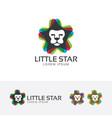 little lion stars logo vector image vector image