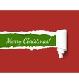 Merry Christmas green torn edge template vector image vector image