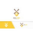 mill and map pointer logo combination farm vector image vector image
