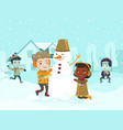 multicultural children making a snowman vector image