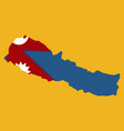 nepal map with shadow effect vector image vector image