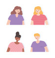 people young women man cartoon portrait icons vector image