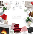 realistic home interior template vector image