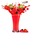 red berry juice splash whole and sliced vector image vector image