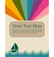 retro summer image with rainbow and sea vector image vector image