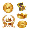 royal golden crowns coins and treasure chest set vector image vector image