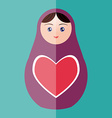 Russian doll matryoshka with heart on teal vector image vector image