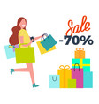 sale -70 running woman on vector image vector image